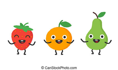 Set dancing fruits strawberry orange pear. Loop animation....