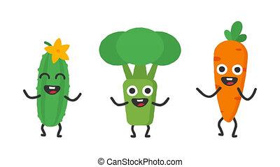 Set dancing vegetables cucumber broccoli carrots. Loop...
