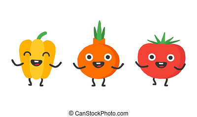 Set dancing vegetables pepper onion tomato. Loop animation....