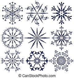 Set dark blue snowflakes