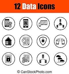 set, dati, icone