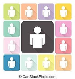 set, de kleur van mensen, illustratie, vector, pictogram