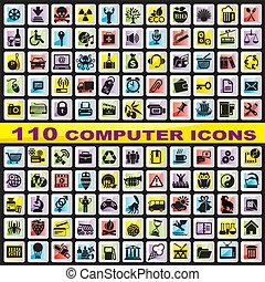 set, de pictogrammen van de computer