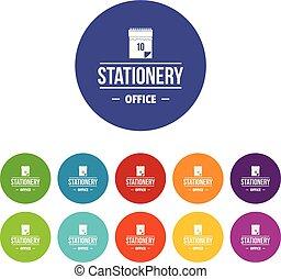 set, de pictogrammen van het bureau, kleur, vector, briefpapier
