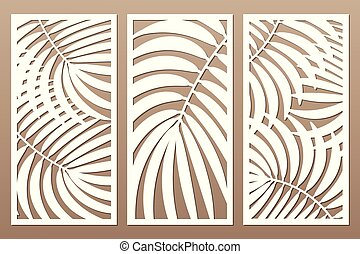 Set decorative card for cutting. Leaves foliage palms fern ...