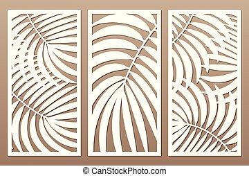 Set decorative card for cutting. Leaves foliage palms fern ...