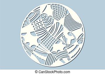 Set decorative circle card for cutting. Doodle line pattern. Laser cut panel. Vector illustration.
