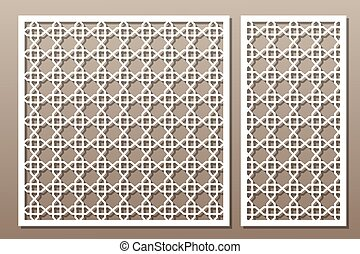Set decorative elements for laser cutting. Geometric...