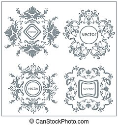 Set  decorative floral ornament logo