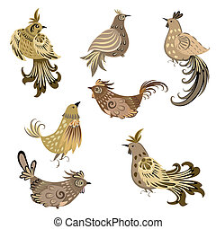 set, decorativo, uccello