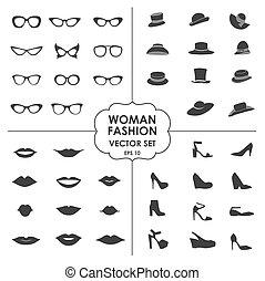 set, decorazione, applitsations, labbra, usato, shops., disegno, icone fotoricettore, scarpe, -, essere, donna, icone, occhiali, collezione, cappelli, 10, mobile, eps, vettore, lattina, moda
