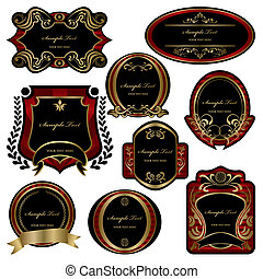 set, decorazione, astratto, etichette