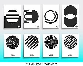 set, dekking, ontwerp, mal, geometrisch, minimaal