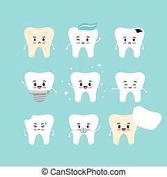 set., dental, cute, dentes, vetorial, ícone, emoji