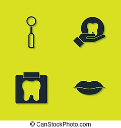 Set Dental inspection mirror, Smiling lips, X-ray of tooth and Tooth icon. Vector