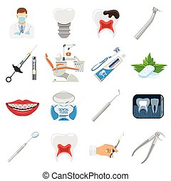 Set Dental Services and Stomatology icons in flat style. Doctor, dentist chair, braces, x-ray, cartridge syringe, carpula and implant. Isolated vector illustration
