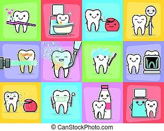set., dentes, higiene, tratamento, conceitos, cuidado