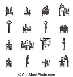 set, depressie, pictogram