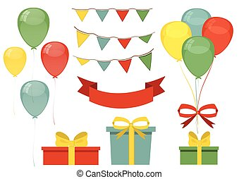 Set design for greeting card. The holiday, birthday.