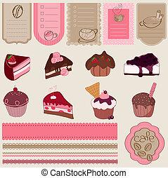 set, dessert, -, elemento, dolci, disegno, album
