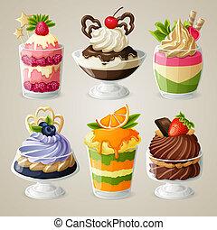set, dessert, ijs, zoetigheden, mousse, room