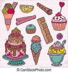 set, dessert, -, mano, dolci, vettore, disegnato, torte