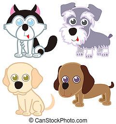 set., dessin animé, chien