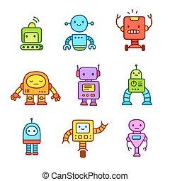set., dessin animé, robots