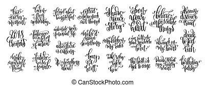 set, di, 25, mano, iscrizione, motivazionale, e, inspirational, citare