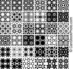 set, di, 36, seamless, patterns.