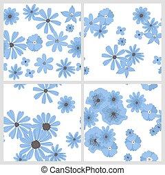 set, di, 4, mano, disegnato, floral modella