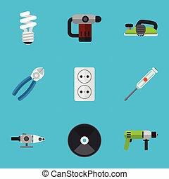 set, di, 9, editable, elettrico, icons., include, simboli, tale, come, inserire, unghia, jointer, pinza, e, more., lattina, essere, usato, per, web, mobile, ui, e, infographic, design.