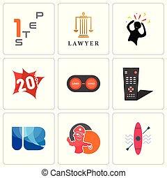 set, di, 9, semplice, editable, icone, tale, come, kayak, pirata, mascotte, ib