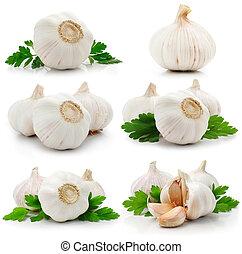 set, di, aglio, frutte, con, verde, prezzemolo, foglie