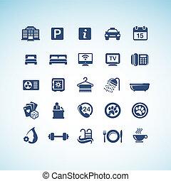 set, di, albergo, icone