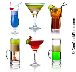 set, di, alocohol, coctails, con, frutte, isolato, su, briciolo