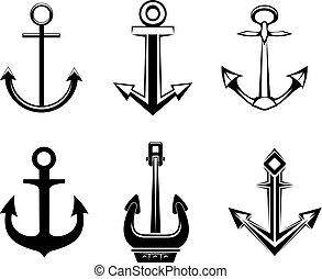 set, di, ancorare, simboli