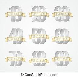 set, di, anniversario, argento, segni