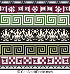 set, di, anticaglia, greco, ornamenti