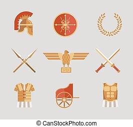 set, di, antico, guerriero, accessori