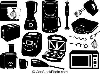 set, di, apparecchi cucina