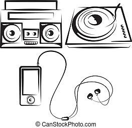 set, di, apparecchiatura musica