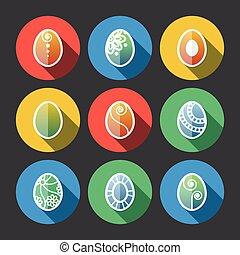 set, di, appartamento, uova pasqua, icone