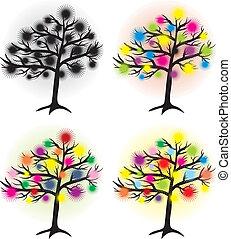 set, di, astratto, albero, con, halftone, sole, disegnare elemento