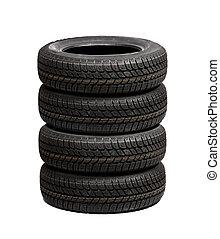 set, di, automobile, pneumatici, isolato