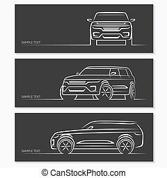 set, di, automobile, silhouettes.
