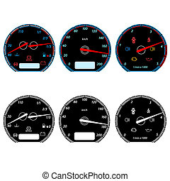 set, di, automobile, tachimetri, per, da corsa, design., vettore, illustrazione
