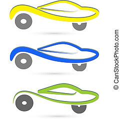 set, di, automobili, logotipo
