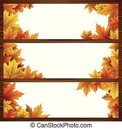 set, di, autunno parte, bandiere