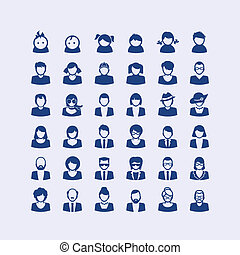set, di, avatar, icone